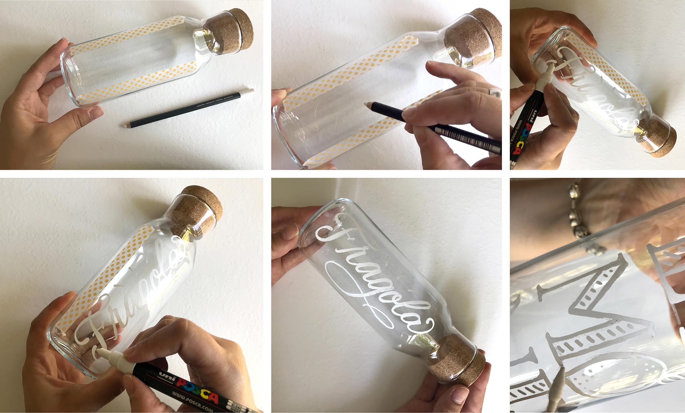 I passaggi per realizzare una scritta su una bottiglia