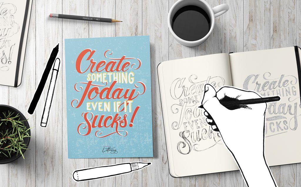 Scritta ispirazionale in lettering con illustrazione