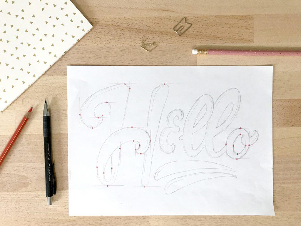 Schizzo a matita della scritta Hello