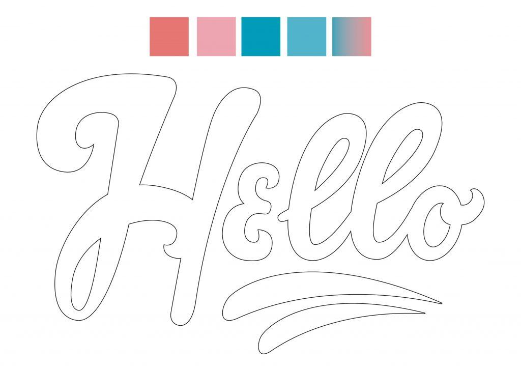 La scritta Hello e la scelta della palette colori