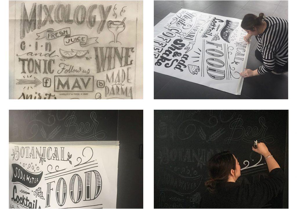Il procedimento per decorazione con il lettering una parete lavagna