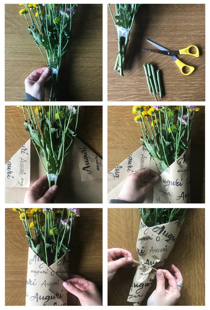 Passaggi su come impacchettare un mazzo di fiori