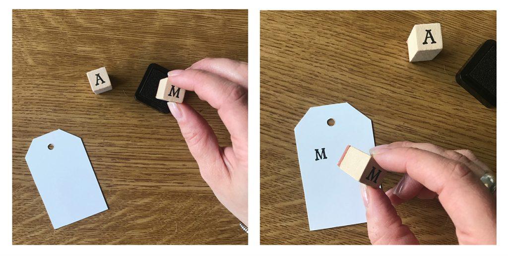 Scrivere con i timbri su un tag