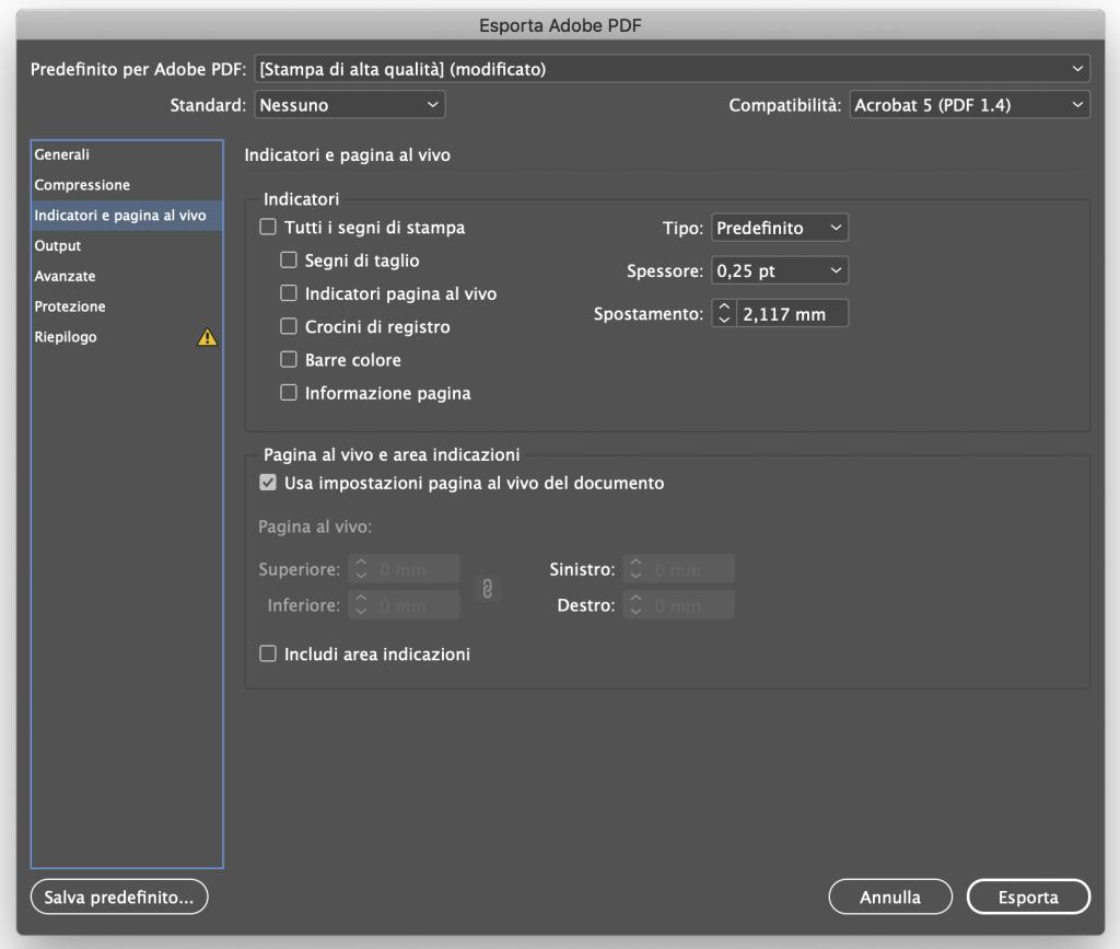 Esportare un file in PDF