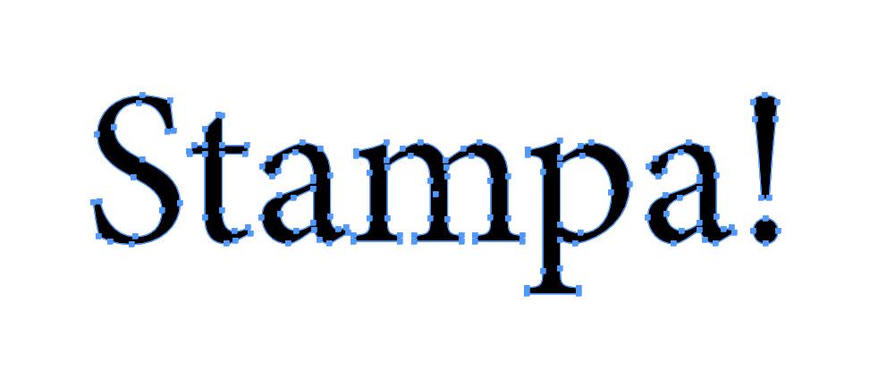 Esempio di font convertito in tracciati