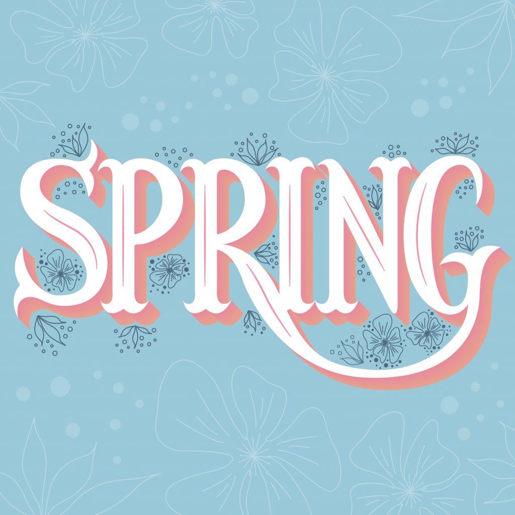 la parola Spring in lettering