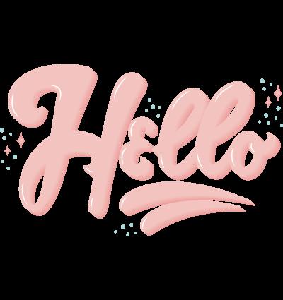 Scritta Hello in Lettering